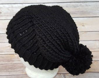 Black Slouchy Hat, Black Beanie Hat, Winter Hat, Black Hat, Black Beanie, Slouchy Black Hat, Knitted Black Hat, Knit Black Hat