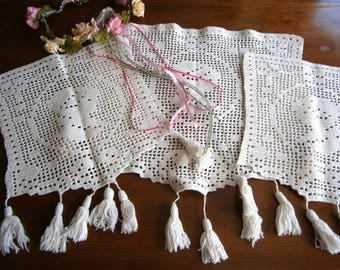 Hand Crocheted Vintage Antimacassar, Three (3) White Filet Crochet Doilies, Chair Protectors for Chair Back and Arms,Tassels, Cameo Doilies