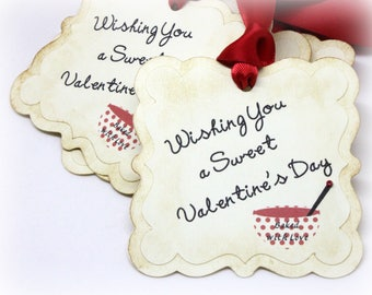 Valentine's Day Gift Tags (Tripled Layered) - Mixing Bowl - Baked with Love - Homemade Baking Supplies - Baked Goods Food Labels (Set of 8)
