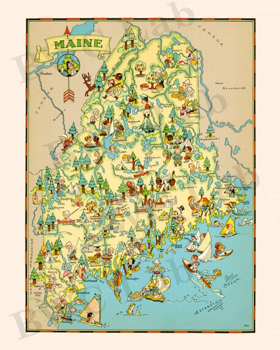 Pictorial Map of Maine colorful fun illustration of vintage