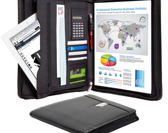 Leather Portfolio – Professional Business Zippered Portfolio - Bonded Leather Padfolio Organizer, A4 Notepad, iPad / Tablet Holder - NEW