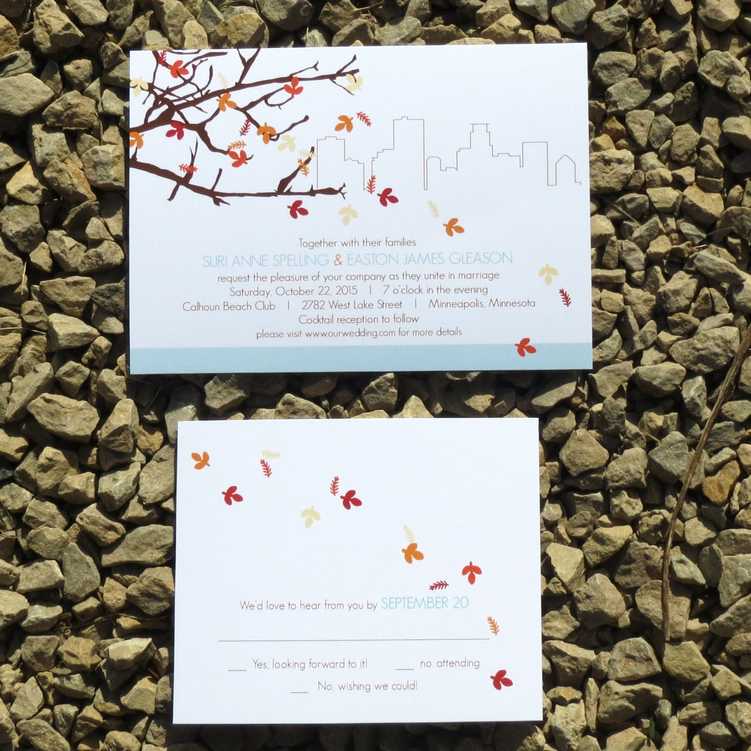 Personalized Skyline Wedding Invitations: Skyline Fall Wedding Invitations Custom Fall Wedding
