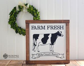 Cow Sign / Wood Cow Sign / Farm Fresh Sign / Farmhouse Decor / Farmhouse Kitchen / Rustic Sign / Rustic Decor / Farmhouse Kitchen Decor
