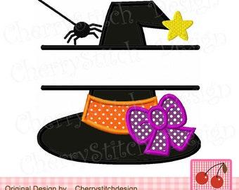 Halloween Split witch hat Halloween Machine Embroidery Design-for 4x4 5x5 6x6 inch- Machine Embroidery Applique Design