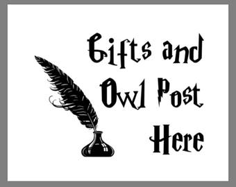 PRINTABLE 5x7 Harry Potter Gifts and Owl Post Here SIGN