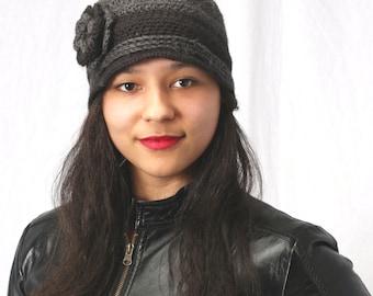 Womens winter hat, Crochet flower hat in grey and black, Crochet ladies hat