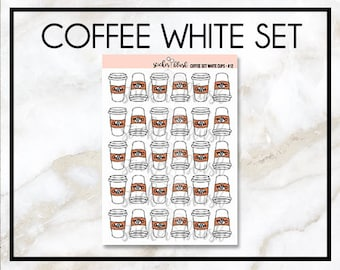 Coffee stickers planner stickers white with brown cozy -  for use with Erin condren planner  -#12