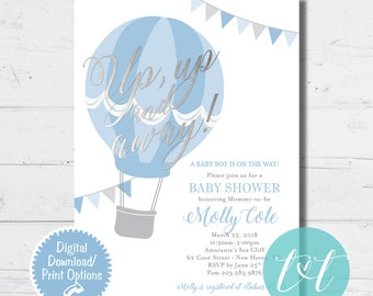 """HOT AIR BALLOON """"Up, Up and Away!"""" Baby Boy Shower Invite"""