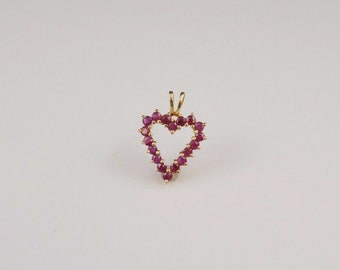 14K Yellow Gold 3D Figural Love Heart With Ruby Gemstones Pendant/Charm