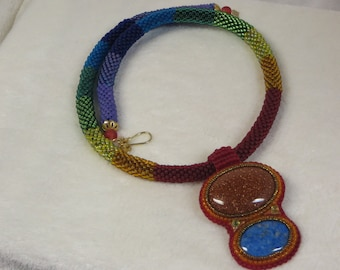 Necklace Crocheted Beaded Rainbow2 Rope with Goldstone Lapis Lazuli and Peridot Pendant