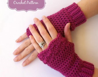 Fingerless Gloves Crochet Pattern No.913 Shell Trim Glove Crochet Pattern Digital Download English