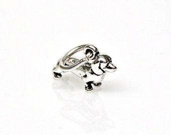 Tiny Dachshund Wiener Dog Sterling Silver Charm for Bracelet or Anklet no. 2151