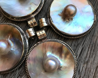WOW, Pearl Pendant, 40mm mother of pearl with pearl, pendants, Pendant, large pendant, pendants, pearl pendant