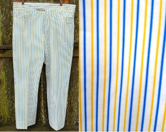 Mens Pants, 70s Pants, Vintage Pants, Striped Pants, Izod Pants, Izod of London, Vintage Costume, 70s Costume, Gift for Him, Double Knit