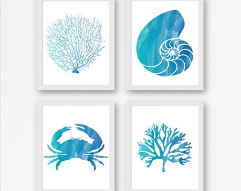 Nautical Printable Wall Art - Set Of 4 Art Prints -Watercolor Fan Coral / Nautilus Shell /Crab /Seaweed Poster -Beach Art Prints - 8 x 10