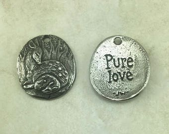 Pure Love Deer Green Girl Charm Pendant - Doe Fawn Forest Creature Wilderness Camping - American Artist Made Lead Free Pewter Silver 474