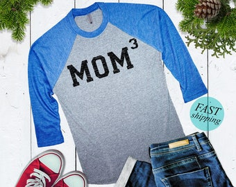 Cute MOM3 baseball shirt Mom of 3 Baseball Shirt Mom Cubed Womens 3/4 sleeve raglan Christmas Gift For Mom Cute Mothers Day Gift For Wife