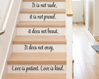 Stair Decals   Stair Stickers   Stair Quote Decals   Corinthians Decals    Love Decals   Vinyl Decal   Religious Home Decor   Christian Decor