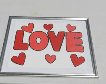 Love painting/love picture/heart picture/hand painted framed picture
