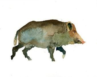 WILD BOAR - 10x8inch print-Children's Decor-Art for Children-kids wall art-Nursery art -Animal lover