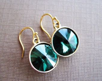 Emerald Luxury - Swarovski Rivoli Rhinestone Drop Earrings in Emerald Green