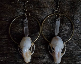 Quartz Crystal Bat Skull Earrings