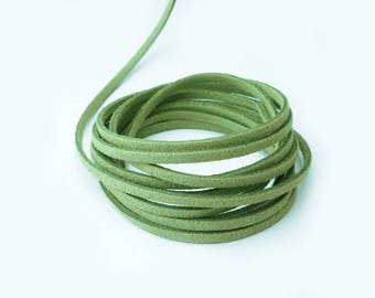 Pistachio green cord 3 mm suede - by the yard