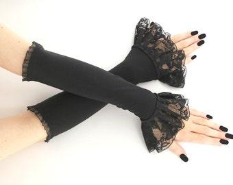 Black fingerless gloves arm warmers long gloves black gloves evening gloves gothic gloves opera gloves formal gloves women goth 025R