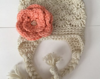 Shell Pattern Beanie/ Hat with Flower - Any Color(s)  - Newborn to 12 months - With or W/out Earflaps