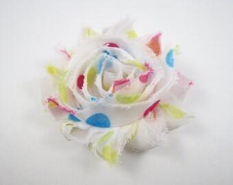 Polka Dot Shabby Flower Hair Bow - Polka Dot Hair Clip - Flower Hair Bow - Shabby Hair Clip - Infant Toddler Child Teenager Hair Clip