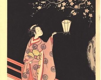"Japanese Ukiyoe, Woodblock print, Harunobu, ""Woman Admiring Plum Blossoms at Night"""