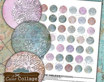 Snowflakes, Collage Sheet, 1 Inch Circle, Digital Download, Bottlecap Images, Christmas Images, Printable, Instant Download