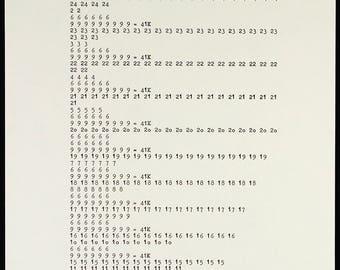 "Conceptual Art. ""Zahlentypographie"", 1969. Serigraph by Hanne DARBOVEN"