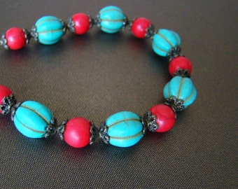 Mother's Day Gift women Girlfriend gift ideas for wife Turquoise red howlite stones bracelet Exotic Beaded bracelet Bright jewelry Unique