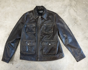 Vintage Distressed Leather Jacket Lucky Brand Mens Large