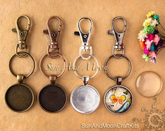 10 30mm Key Fob Craft Kits ~ 10 Lobster Swivels (Heavy Duty) 10 Key Rings, 10 30mm Circle Trays w 10 30mm FX Glass Dome, 1 Sample Glaze