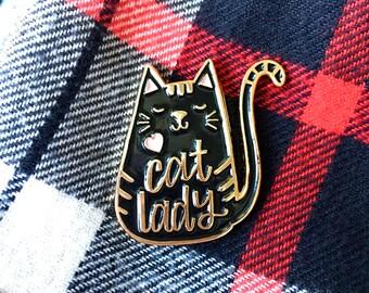 Cat Lady Enamel Pin - Cat Pin - Mothers Day Gift- Cat Enamel Pin - Cat Brooch Pin - Cat gift - Cat lapel pin - Black Cat