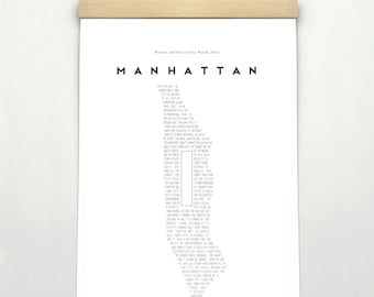 MANHATTAN, Original Art, Woody Allen Inspired Minimalist Movie Poster Print 24 x 36""