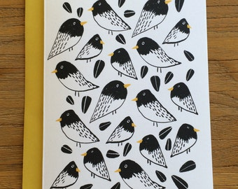 Bold and Graphic Birds and Sunflower Seed Greeting Card