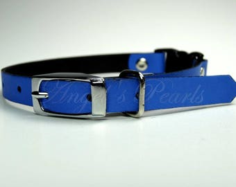 Blue Calf Leather Cat Collar - Thaïs - Safety Breakaway System