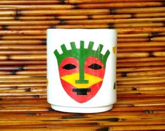 Ceramic Hand Made White Earthenware Mask Mug
