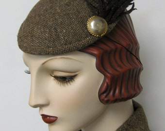 Tweed Faux Feather Fascinator