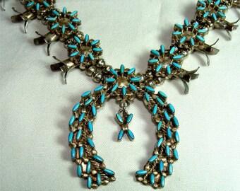 Vintage Genuine Zuni Indian Petite Point SQUASH BLOSSOM Necklace
