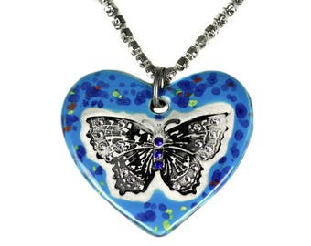 Butterfly Sparkle Surly Necklace with Swarovski Crystals