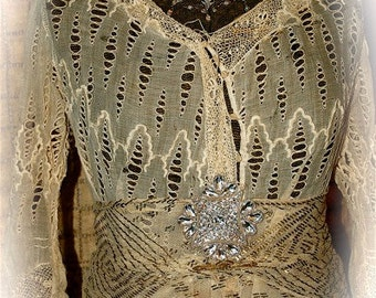 RARE Antique Lace and Sheer Muslin Cutwork Overdress with Gold Metallic Sash Belt - Size Medium