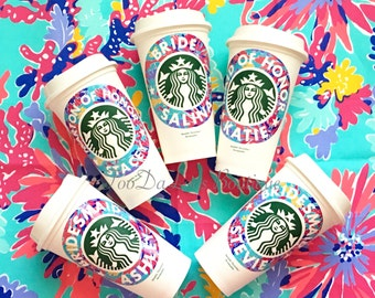 Bridal Party, Bridesmaid, Personalized Starbucks Cup, Coffee, Monogrammed