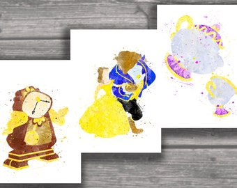 Beauty and the Beast art print,Beauty and the Beast disney, watercolor poster, Art Print, instant download, Watercolor Decor