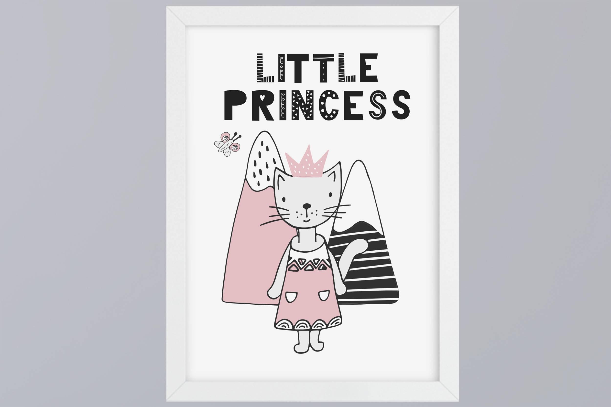 Kitten Little Princess Art print without frame