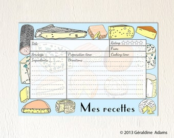 60 Recipe Cards 5 sets of 12 6x4 cards French Cheeses meat fruits Mes Recettes gift for a cook gourmet Bridal shower gift hostess gift