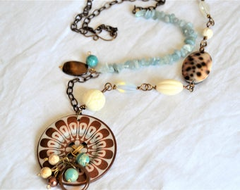 AQUAMARINE Tropical Long Necklace Large Wood Button Focal Aqua Cream Brown